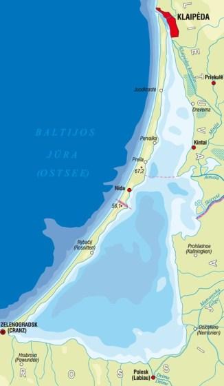 kurische nehrung karte Landkarte Kurische Nehrung Karte   Litauen.info